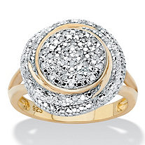 Round Diamond Two-Tone Cluster Swirl Engagement Ring 1/5 TCW in 18k Gold over Sterling Silver