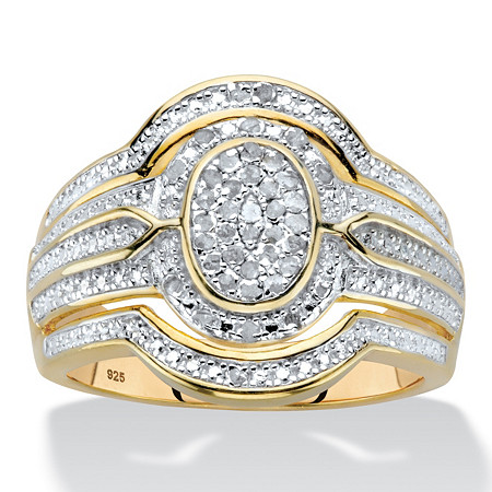 Diamond Two-Tone Oval-Shaped Multi-Row Engagement Ring 1/8 TCW in 18k Gold over Sterling Silver at PalmBeach Jewelry