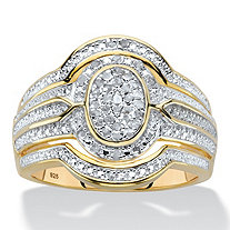 Diamond Two-Tone Oval-Shaped Multi-Row Engagement Ring 1/8 TCW in 18k Gold over Sterling Silver