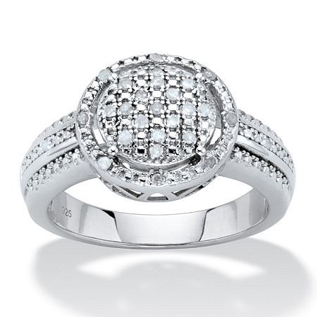 Round Diamond Cluster Floating Halo Engagement Ring 1/8 TCW in Platinum over Sterling Silver at PalmBeach Jewelry