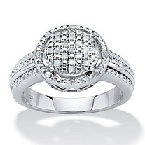 Round Diamond Cluster Floating Halo Engagement Ring 1/8 TCW in Platinum over Sterling Silver