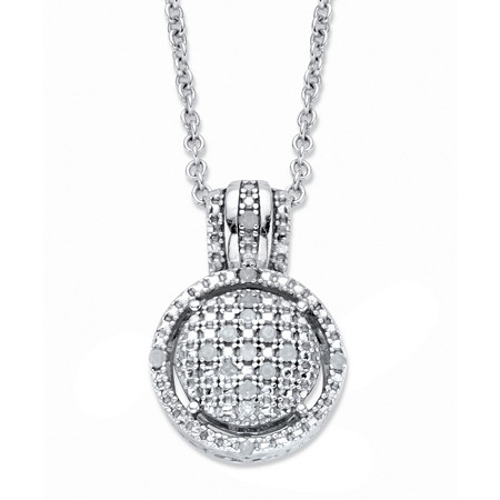 """Round Diamond Accent Platinum over Sterling Silver Floating Halo Cluster Pendant Necklace 18""""-20"""" at PalmBeach Jewelry"""