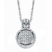 Round Diamond Accent Platinum over Sterling Silver Floating Halo Cluster Pendant Necklace 18