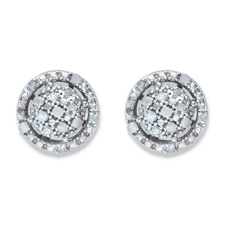 Round Diamond Floating Halo Cluster Button Earrings 1/8 TCW in Platinum over Sterling Silver at PalmBeach Jewelry