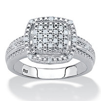 Diamond Squared Cluster Floating Halo Engagement Ring 1/7 TCW in Platinum over Sterling Silver