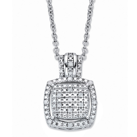 "Diamond Squared Cluster Halo Pendant Necklace 1/10 TCW in Platinum over Sterling Silver 18""-20"" at PalmBeach Jewelry"
