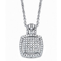 "Diamond Squared Cluster Halo Pendant Necklace 1/10 TCW in Platinum over Sterling Silver 18""-20"""