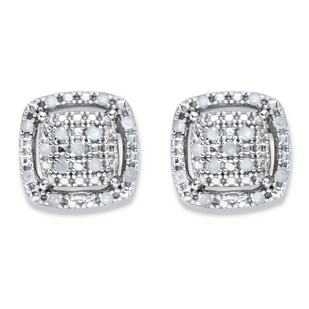 Diamond Squared Cluster Halo Button Earrings 1/8 TCW in Platinum over Sterling Silver at PalmBeach Jewelry