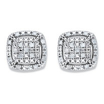 Diamond Squared Cluster Halo Button Earrings 1/8 TCW in Platinum over Sterling Silver