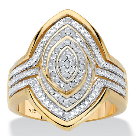Diamond Marquise-Shaped Two-Tone Cocktail Ring 1/5 TCW in 18k Gold over Sterling Silver at PalmBeach Jewelry