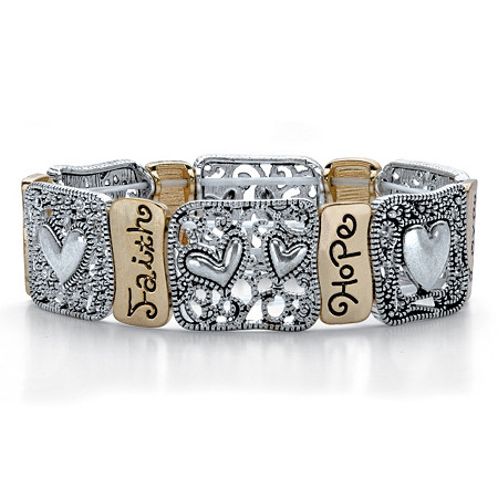 """Crystal Accent Two-Tone Inspirational Filigree """"Hope"""" and """"Faith"""" Stretch Bracelet in Antiqued Silvertone and Gold Tone 7"""" at PalmBeach Jewelry"""