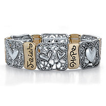 "Crystal Accent Two-Tone Inspirational Filigree ""Hope"" and ""Faith"" Stretch Bracelet in Antiqued Silvertone and Gold Tone 7"""