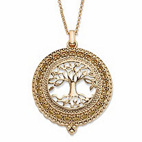Tree of Life Magnifying Glass Medallion Pendant Necklace in Antiqued Gold Tone 32