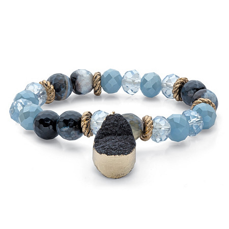 """Simulated Onyx and Blue Beaded Stretch Bracelet in Antiqued Gold Tone 7"""" at PalmBeach Jewelry"""