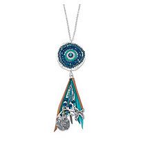 "Blue and Grey Crystal Beaded Ocean Themed Charm Fringe Necklace in Antiqued Silvertone 32""-34"""