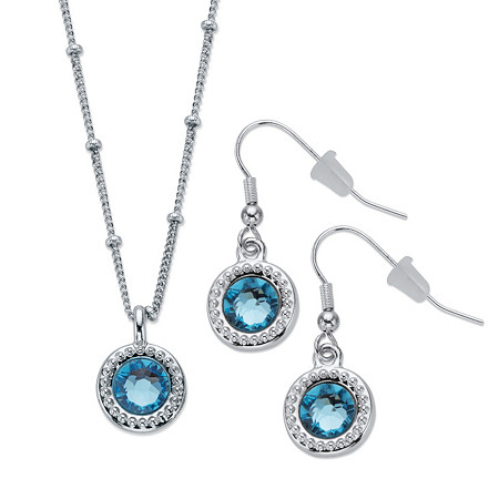 "Round Blue Crystal Halo-Style 2-Piece Drop Earring and Pendant Necklace Set 18""-20"" at PalmBeach Jewelry"
