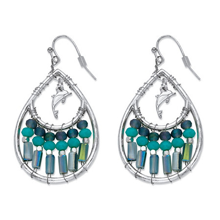 "Blue Beaded Simulated Turquoise Crystal Teardrop-Shaped Dolphin Charm Drop Earrings in Silvertone 1 5/8"" at PalmBeach Jewelry"