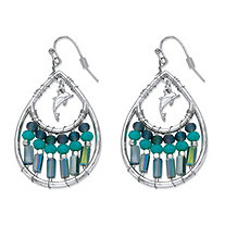 Blue Beaded Simulated Turquoise Crystal Teardrop-Shaped Dolphin Charm Drop Earrings in Silvertone 1 5/8