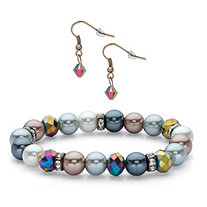 Aurora Borealis Crystal and Multicolor Beaded 2-Piece Drop Earring and Stretch Bracelet in Black Ruthenium-Plated Set 7""
