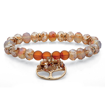 """Champagne and Brown Crystal Tree of Life Charm Beaded Stretch Bracelet in Silvertone 7"""" at PalmBeach Jewelry"""
