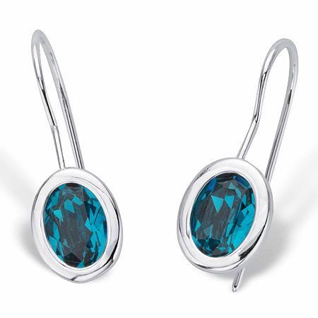 """Oval-Cut Bezel-Set Teal Blue Crystal Drop Earrings in Silvertone 3/4"""" at PalmBeach Jewelry"""