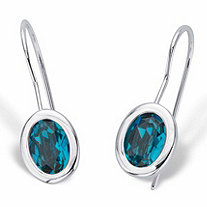 Oval-Cut Bezel-Set Teal Blue Crystal Drop Earrings in Silvertone 3/4