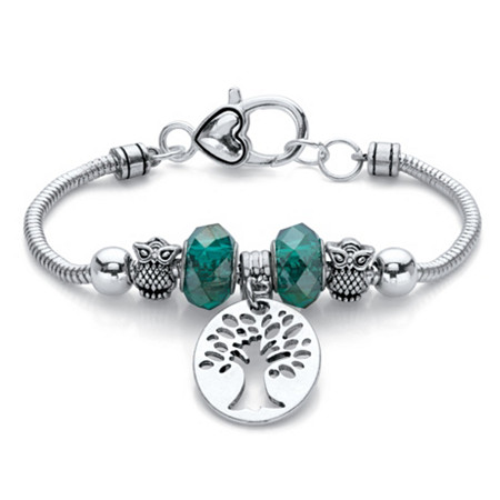 "Green Beaded Tree of Life and Owl Bali-Style Charm Bracelet in Silvertone 7.5"" at PalmBeach Jewelry"