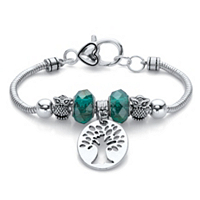 Green Beaded Tree Of Life And Owl Bali-Style Charm Bracelet