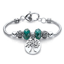 Green Beaded Tree of Life and Owl Bali-Style Charm Bracelet in Silvertone 7.5""
