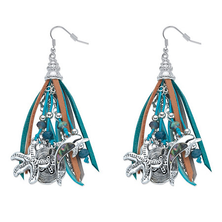 Blue and Grey Crystal Beaded Ocean Themed Charm Chandelier Fringe Earrings in Antiqued Silvertone at PalmBeach Jewelry