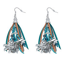 Blue and Grey Crystal Beaded Ocean Themed Charm Chandelier Fringe Earrings in Antiqued Silvertone