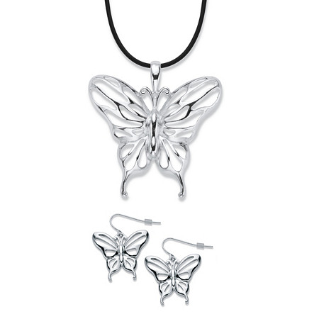"Cutout Butterfly 2-Piece Drop Earrings and Black Corded Pendant Necklace Set in Silvertone 17""-19"" at PalmBeach Jewelry"