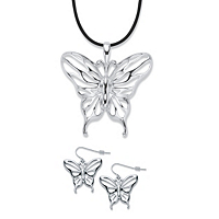 Cutout Butterfly 2-Piece Drop Earrings And Black Corded Pendant Necklace Set