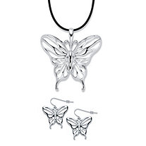 Cutout Butterfly 2-Piece Drop Earrings and Black Corded Pendant Necklace Set in Silvertone 17