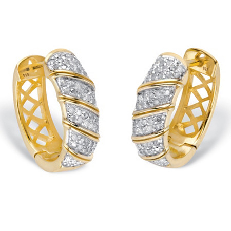 "Round Diamond Two-Tone Diagonal Huggie-Hoop Earrings 3/8 TCW in 18k Gold over Sterling Silver 5/8"" at PalmBeach Jewelry"
