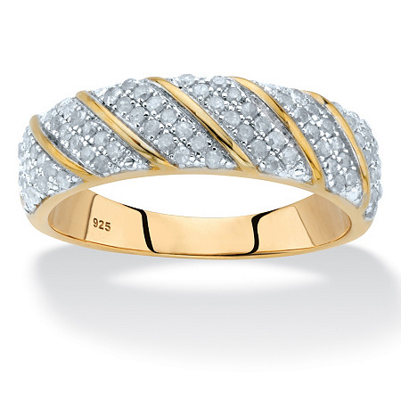 3/8 TCW Round Diamond Two-Tone Diagonal Ring in 18k Gold over Sterling Silver at PalmBeach Jewelry
