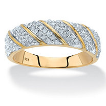 3/8 TCW Round Diamond Two-Tone Diagonal Ring in 18k Gold over Sterling Silver