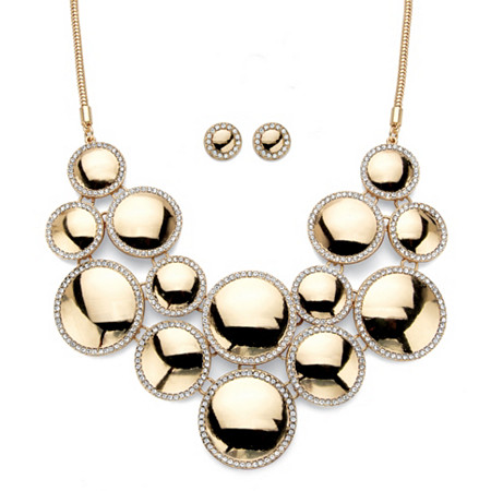 "Round Crystal 2-Piece Halo Disc Button Earring and Bib Necklace Set in Gold Tone 20""-22.5"" at PalmBeach Jewelry"