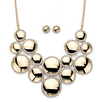 "Round Crystal 2-Piece Halo Disc Button Earring and Bib Necklace Set in Gold Tone 20""-22.5"""