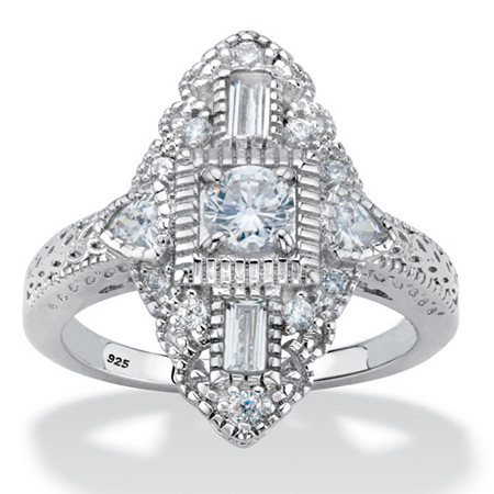 Round Cubic Zirconia  Art Deco-Style Navette Ring 1.03 TCW in Platinum over Sterling Silver at PalmBeach Jewelry