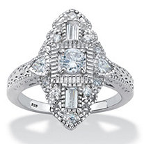 Round Cubic Zirconia Art Deco-Style Navette Ring 1.03 TCW in Platinum over Sterling Silver