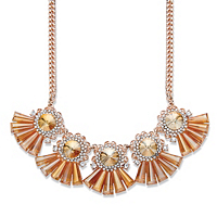 Round and Baguette-Cut Champagne Crystal Fringe Necklace in Rose Gold Tone 18-20