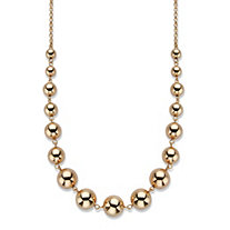 "Polished Graduated Beaded Necklace in Gold Tone 17""-20"""