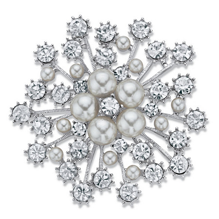 "Simulated Pearl and Crystal Starburst Brooch Pin in Silvertone 2.75"" at PalmBeach Jewelry"