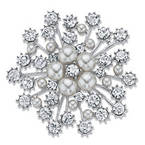 Simulated Pearl and Crystal Starburst Brooch Pin in Silvertone 2.75