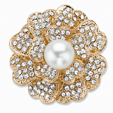 "Simulated Pearl and Crystal Flower Brooch Pin in Gold Tone 2.75"" at PalmBeach Jewelry"