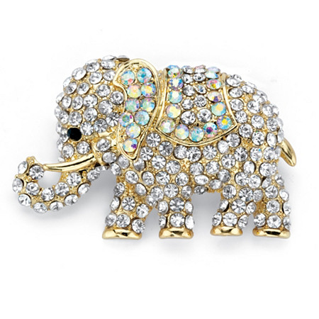 """Aurora Borealis Crystal Elephant Brooch Pin in Gold Tone 2"""" at PalmBeach Jewelry"""