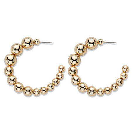 "Polished Graduated Beaded Demi-Hoop Earrings in Gold Tone 2"" at PalmBeach Jewelry"