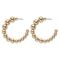 Polished Graduated Beaded Demi-Hoop Earrings