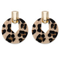 Leopard Print Faux Suede Gold Tone Hoop Earrings 2.5